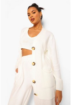 Ivory white Solid Colour Boyfriend Cardigan