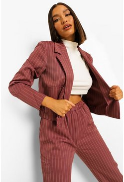 Pinstripe Crop Blazer & Relaxed Jogger Suit Set