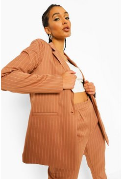Caramel beige Pinstripe Oversized Tailored Dad Blazer