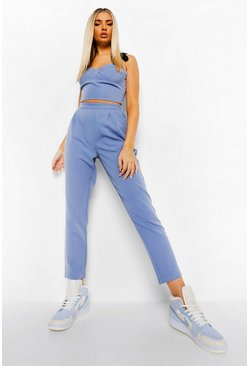 Blue Slouchy Pleat Front Tailored Trousers