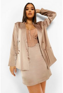 Taupe beige Satin Slip Mini Skirt