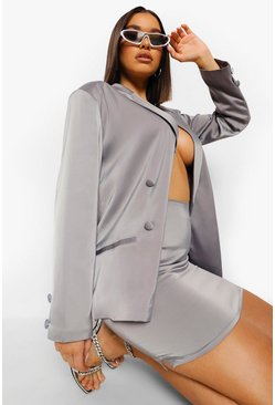 Grey Satin Double Breasted Blazer