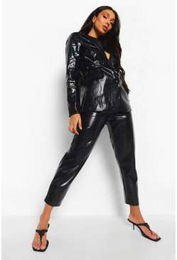 Black Leather Look Mock Croc Belted Trouser