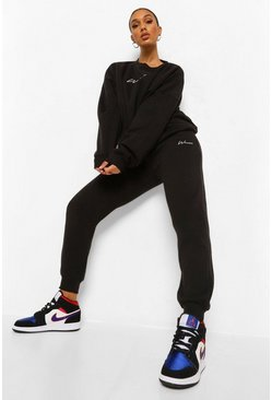 Black Oversized Woman Geborduurd Trainingspak Met Sweater