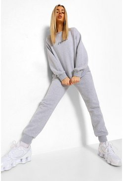 Grey marl Woman Embroidered Sweater Tracksuit