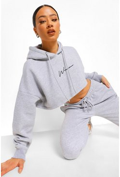 Grey marl grey Woman Embroidered Cropped Tracksuit
