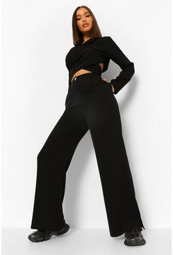Black Split Side Wide Leg Slouchy Trousers