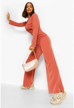 Spice orange Split Side Wide Leg Slouchy Trousers
