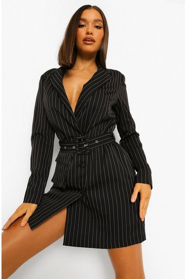 Taupe beige Pinstripe Double Breasted Utility Blazer Dress