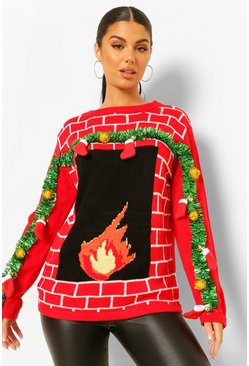Red 3d Stocking And Tinsel Fireplace Ugly Christmas Jumper