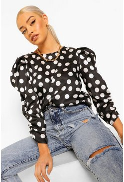 Black Satin Polka Dot Volume Sleeve Top