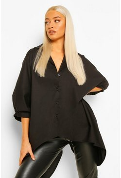 Black Oversized Shirt With Tie Back Detail