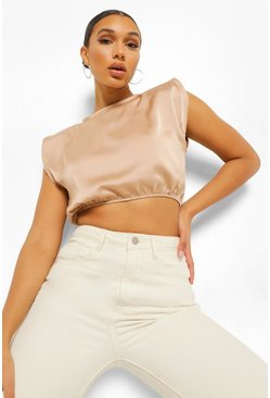 Gold metallic Satin Shoulder Pad Top