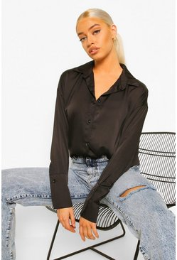 Black Oversized Satin Shirt With Cuff Detail