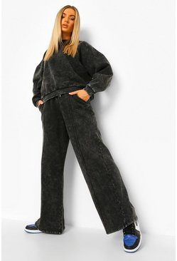 Charcoal grey Acid Wash Official Extreme Wide Leg Tracksuit