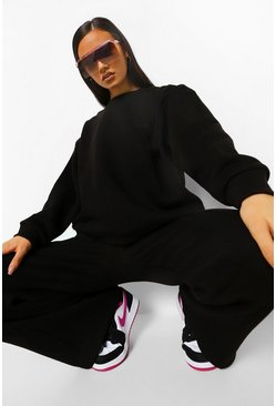 Black Official Embroidered Extreme Wide Leg Tracksuit