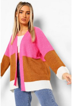 Pink Colour Block Knitted Boyfriend Cardigan