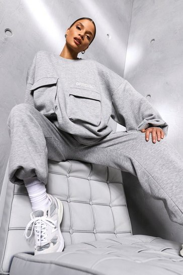 Grey marl grey Grey Oversized Slogan Utility Pocket Sweater