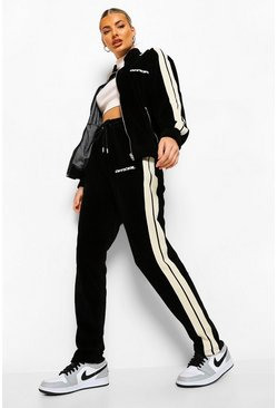 Zwart black Official Velours Trainingsjasje En Joggingbroek Met Streep