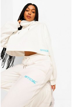 Cream white Oversized Slogan Snood Neck Hoodie