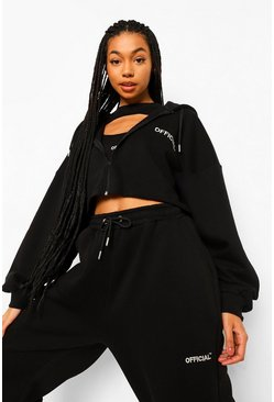 Oversized Slogan Crop Zip Hoodie, Black noir