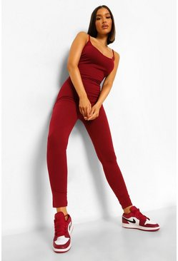 Berry red Strappy Plunge Jumpsuit