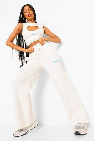 Cream white White Oversized Wide Leg Slogan Joggers