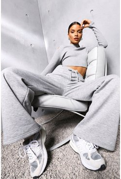 Grey marl grey Oversized Wide Leg Slogan Joggers