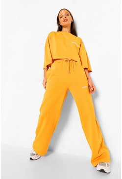Mustard yellow Oversized Wide Leg Joggingbroek Met Tekst