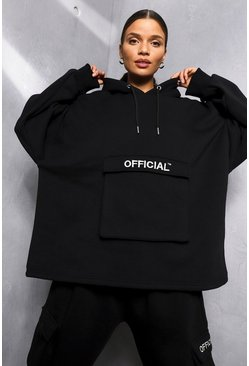 Black Oversized Slogan Utility Pocket Hoodie