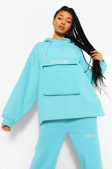 Blue Oversized Slogan Utility Pocket Hoodie