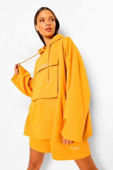 Mustard yellow Yellow Oversized Slogan Utility Pocket Hoodie