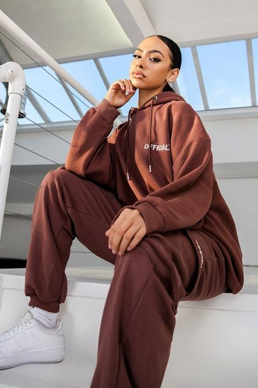 Chocolate brown Brown Oversized Slogan Utility Pocket Joggers