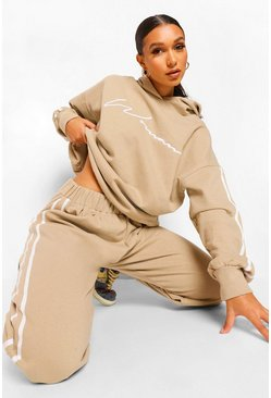 Sand beige Woman Signature Side Stripe Tracksuit