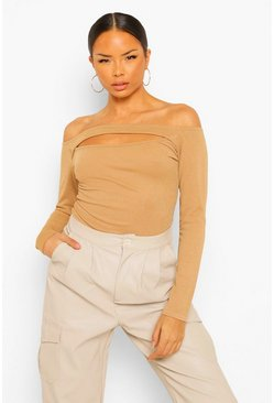 Camel beige Off The Shoulder Cut Out Bodysuit