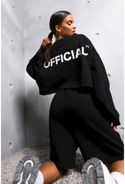 Black Oversized Slogan Long Sleeve Crop