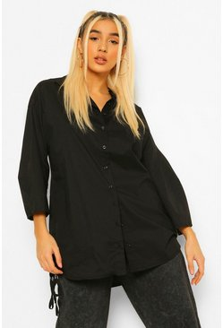 Black Tie Hem Detail Oversized Shirt