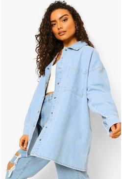 Light blue blue Rigid Denim Oversized Shirt