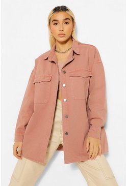 Coral pink Washed Pocket Button Through Denim Oversized Shirt