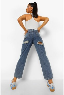 Ice blue Acid Wash Back Rip Straight Leg Jeans