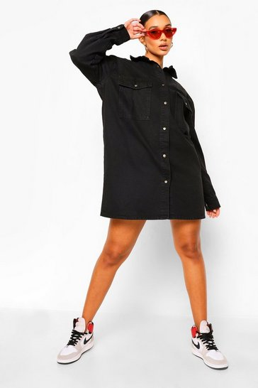 Washed black Pocket Oversized Shirt Dress