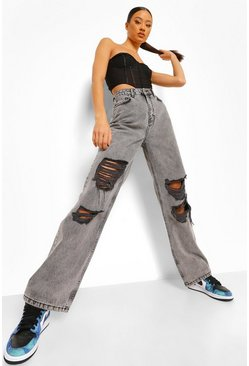 Grey Acid Wash Extreme Rip Boyfriend Jeans