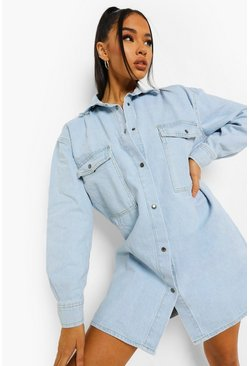 Vintage blue blue  Vintage Pocket Oversized Shirt Dress