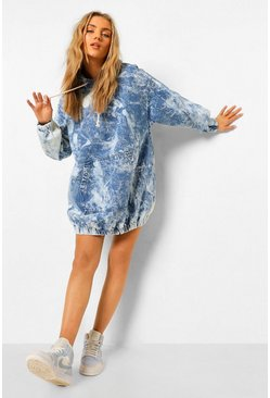 Blue Bleach Wash Tie Dye Pullover Denim Dress