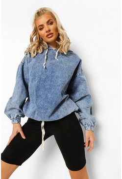 Mid blue blue Hooded Acid Wash Pull Over Denim Jacket
