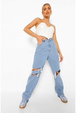 Light blue blue Distressed Knee Boyfriend Jeans