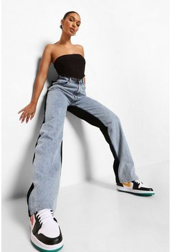 Ice blue Colour Block Acid Wash Boyfriend Jeans
