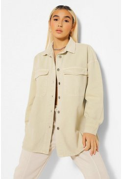 Stone beige Pocket Button Through Denim Oversized Shirt