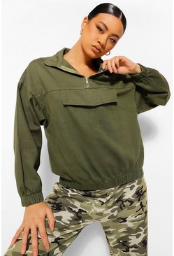 Khaki Hooded Pull Over Denim Jacket