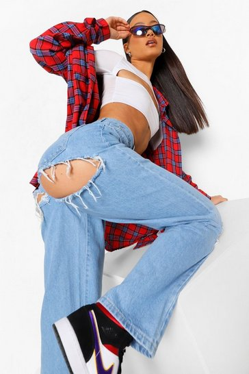 Light blue blue Extreme Bum And Knee Rip Baggy Boyfriend Jean